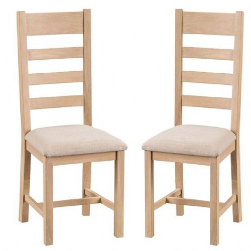 Oxford Oak Ladder Back Chair With Upholstered Pad